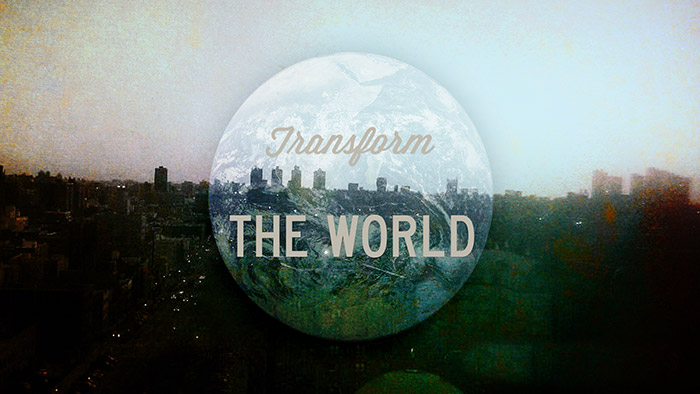 Transform the World cityscape and globe