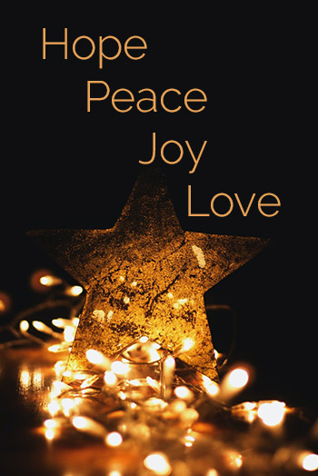 Advent words Hope Peace Joy Love
