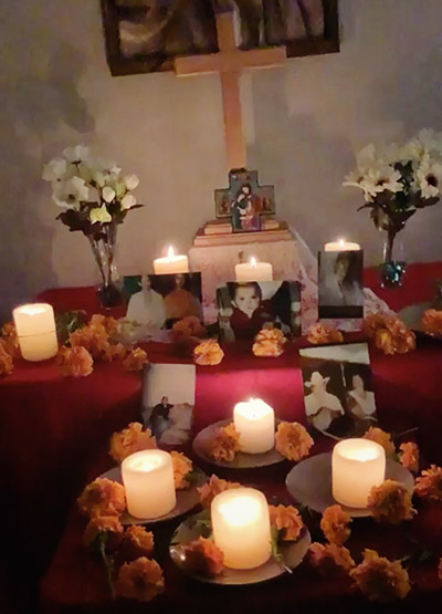 Day of the Dead altar during virtual gathering