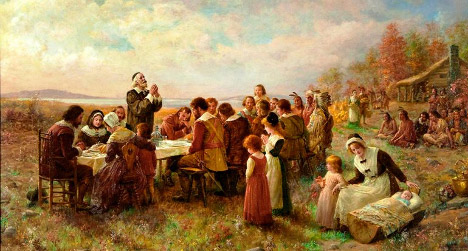 Painting of the first Thanksgiving meal