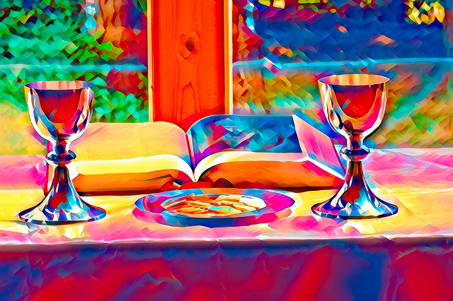 Communion chalices and wafers and bible in rainbow colors